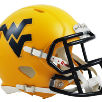 West Virginia Matte Gold Speed Mini Helmet - West Virginia Mountaineers - W-Z - College Football - Collectibles - Shop