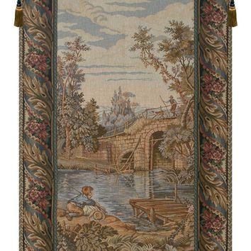 Fishing at the Lake Vertical Tapestry Wall Art Hanging