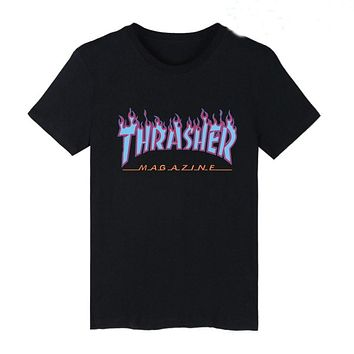 Thrasher T Shirt Men Women Flame Blaze Thrasher T-shirts Magazine Hip Hop Trasher Street Wear skateboards hip hop T Shirt