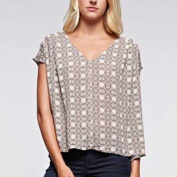 Pleated V-Neck Trim Detailed Top