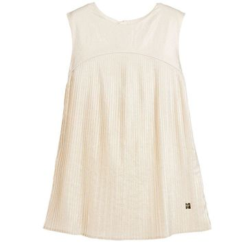 Carrément Beau - Girls Shimmering Gold Pleated Dress