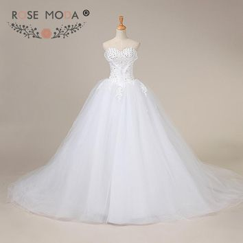Rose Moda Plus Size Ball Gown Lace Up Back Strapless Puffy Princess Wedding Dress with Royal Train Real Photos