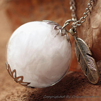 Nature Inspired Jewelry Real Feather Necklace Pendant Gift (HM0067-SLIVER)
