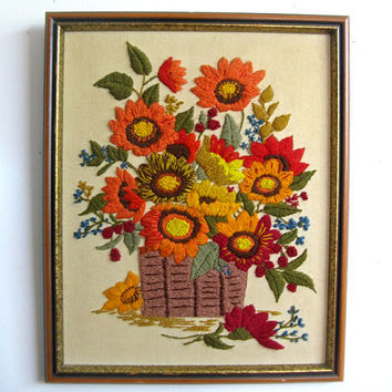 Vintage 1980s Wall Hanging Floral Still Life Crewel Embroidery Picture Home Décor