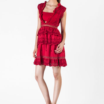 Self Portrait  -  Three Tiered Peplum Lace Red Dress