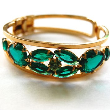 Vintage Emerald Green Glass Bracelet, Gold Tone Clamper Bracelet, 1960's Costume Jewelry
