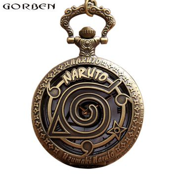 Naruto Sasauke ninja Retro Bronze Anime  Pocket Watch Necklace For Women Men Hollow Metal Case Flip Quartz Fob Vintage Clock Chain Pendant Gift AT_81_8