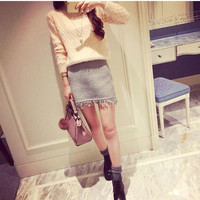 Solid Knitted Tassel A-Line Mini Skirt