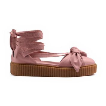 With Dusty Bag Rihanna Fenty Bow Creeper Sandal For Women, Leadcat Fashion Friar Brown Pink Nude Outdoor Fenty Shoes Sandals Eur 35-40