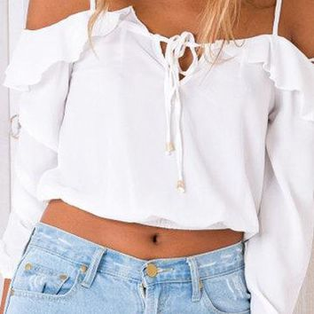 White Frill Trim Self-Tie Long Sleeve Cold Shoulder Crop Top