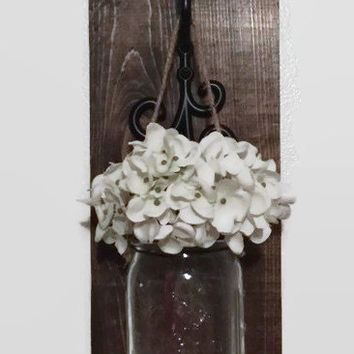 Mason Jar Sconce/Rustic  Wall Decor/ Farmhouse Decor/Distressed Cottage Decor/Hanging Mason Jar/ Hanging Flowers/Rustic Farmhouse