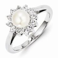 Sterling Silver w/Rhodium Plated CZ and Freshwater Cultured Pearl Ring