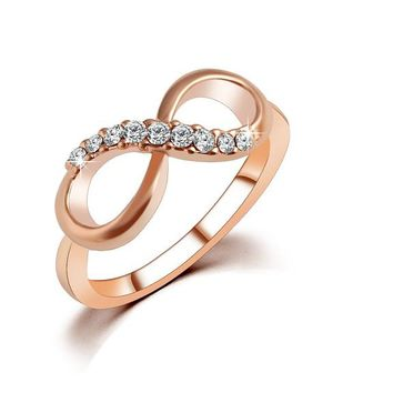 New Design Fashion Alloy Crystal Rings Gold Color For Women
