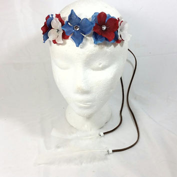 Patriotic Headband/Coachella Headband/Festival Headband/Hippie Headband/Boho Bohemian/Burning Man Headband/ 4th of July Fashion/Gem Headband