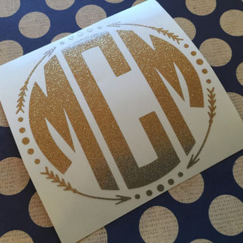 Glitter aztec arrow circle decal monogrammed arrow fram arr