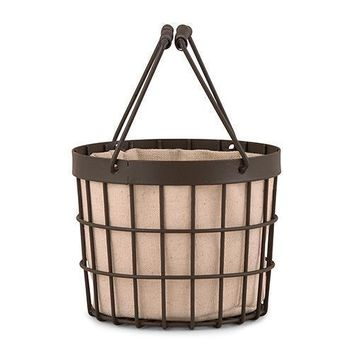 Rustic Wire Flower Basket with Fabric Liner Chocolate Brown (Pack of 1)
