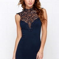 Renaissance Court Lace Navy Blue Dress