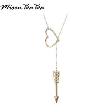 Gold Silver Color Stainless Steel Hollow Out Love Heart Pendant Necklace For Women Simple Arrow Little Simple Necklaces Jewelry