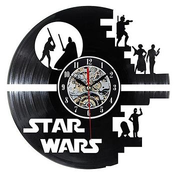 Fashion Creative Clock CD Vinyl Record Wall Clock Star Wars