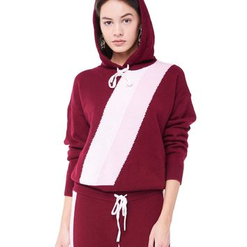 STRIPE CASHMERE HOODED PULLOVER