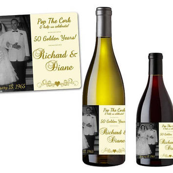 Gold Anniversary Wine Labels - 50th Wedding Anniversary Party Favors - 50th Anniversary Party Favors - Champagne Labels - Photo Couple Gift