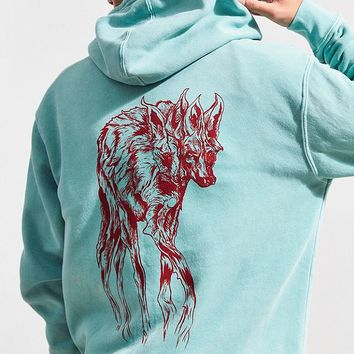 Welcome Maned Woof Pigment-Dyed Hoodie Sweatshirt | Urban Outfitters