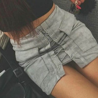 Grey Faux Suede Lace Up Front Pencil Mini Skirt Grey