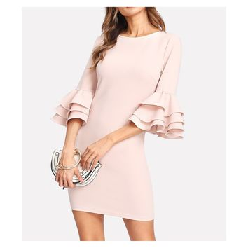 Nude Pink Tiered Ruffle Sleeve Bodycon Dress