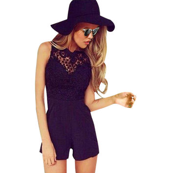 Macacao Feminino Shorts Female Rompers Womens Jumpsuit Sexy Backless Bodycon Lace One Piece Jumpsuits Overalls For Women