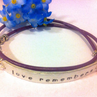 Alzheimer's Love Remembers Leather Awareness bracelet, dementia awareness, alzheimer's awareness, love remembers, memories bracelet