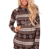 Mocha Snowflake Pattern Sweater with Hoodie