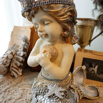 Mermaid statue with rhinestone embellished tail and crown- shabby beach chic
