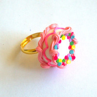 Pink Birthday Cake Ring - Miniature Food Jewelry