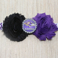 NFL Baltimore Ravens inspired headband- perfect for football season!  Baltimore Ravens Baby Headband
