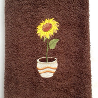 Sunflower in a Planter Embroidered on a Brown Kitchen or Bathroom Hand Towel  $11.00