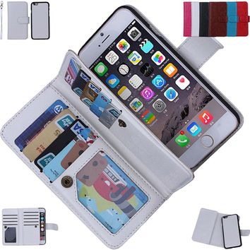Magnetic Flip Practical PU Leather Wallet Case Cover for Various iPhone Samsung Model