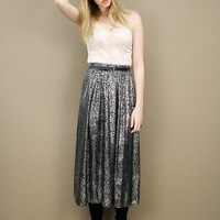 Black and metallic silver vintage skirt in mixed animal print  | shopcuffs.com