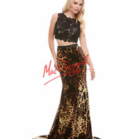 Cassandra Stone by Mac Duggal 76698A Two Piece Lace & Leopard Dress 2015 Prom Dresses