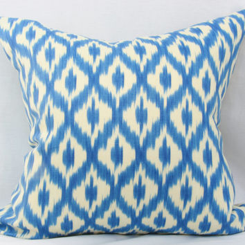 "Blue & white pillow cover. Waverly Williamsburg Dedra Ikat Ink decorative pillow cover. 20"" x 20"" pillow."