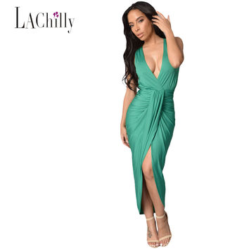 2017 Summer New Brief Style Women High Low Dresses For Party Green Draped Slit Front Long Maxi Dress LC61050 Vestido De Festa