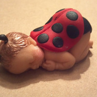 Fondant Baby, fondant ladybug,baby ladybug, lady bug, baby shower, cake topper, cupcake topper, edible, babies, party favors
