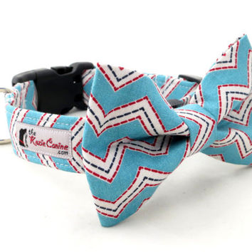 Turquoise and Red Chevron Dog Collar ( Turquoise, Red, White and Black Striped Dog Collar Only - Matching Bow Tie Available Separately)