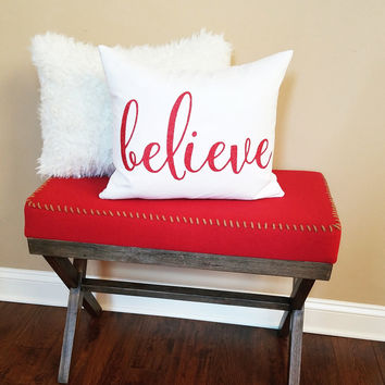 Christmas Pillow Cover - 14x18 'Believe' Pillow Cover, Christmas gift, Christmas Decor, Farmhouse Decor, Holiday pillow, For Her,Shabby Chic