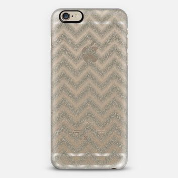 Glitter Silver Chevron Transparent iPhone 6 case by Alice Gosling | Casetify