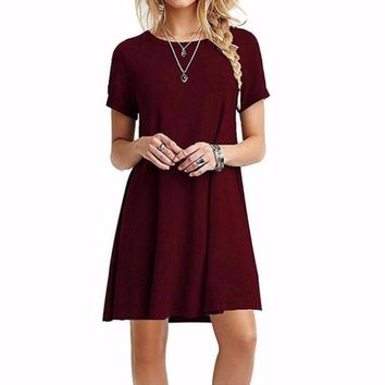 Women's Short Sleeve Casual Solid Burgundy/Red Shift Dress