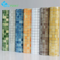 Bathroom wall stickers PVC mosaic wallpaper kitchen waterproof tile stickers plastic vinyl self adhesive wall papers home decor