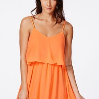 Missguided - Talitha Orange Chiffon Frill Skater Dress