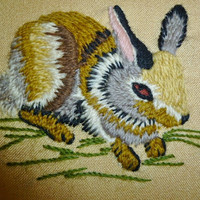 Vintage Hand Embroidered Rabbit and Raccoon Framed  Forest Animals Wall Art, Nursery & Child's Room Artwork, Woodland Cottage Home Decor