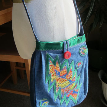 Grateful Dead Inspired ~ 13 BOLT BUTTERFLY BUBBLES Bag ~ Deadhead crossbody ~ Upcycled Fun!
