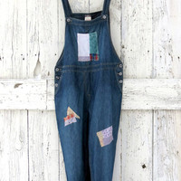 Upcycled denim overalls- blue jean indie fashion- boho hipster overalls- eco fashion- J Jill recycled pants